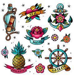 Set Tattoo Old School Vector Image Of Traditional Tattoo Style – Tattoo # # # # # # # # # Set # Tattoo # old