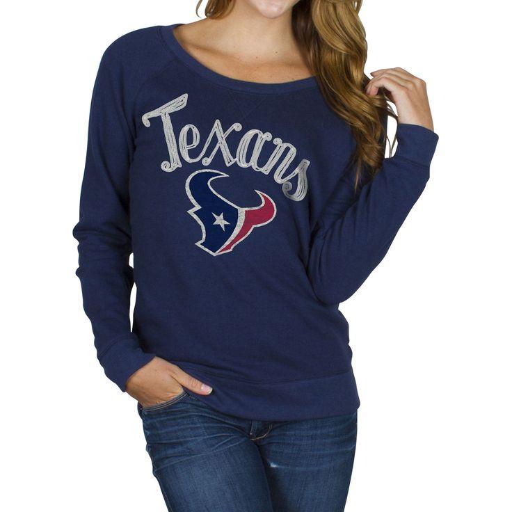 Junk Food Houston Texans Women's Field Goal Crew Fleece Sweatshirt - Navy Blue