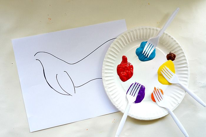 Have students use a fork to paint. Use the printout but don't instruct to paint a rooster. Just let them be prompted by what you give them.