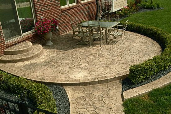 Stamped cement patio.