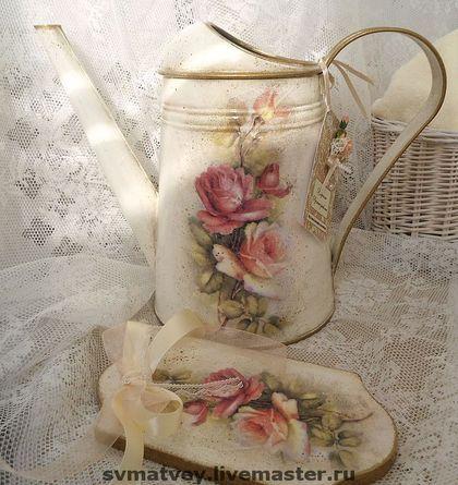 """Лейка """"Дона Роза"""" - лейка,итальянский стиль,айвори,розы,состаривание,винтажная патина"""