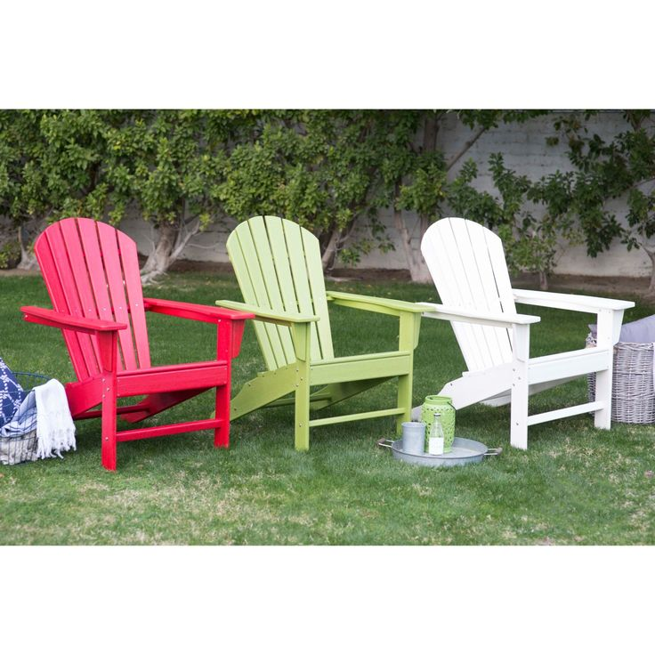 Brighten up your backyard with these colorful recycled plastic adirondack chairs.