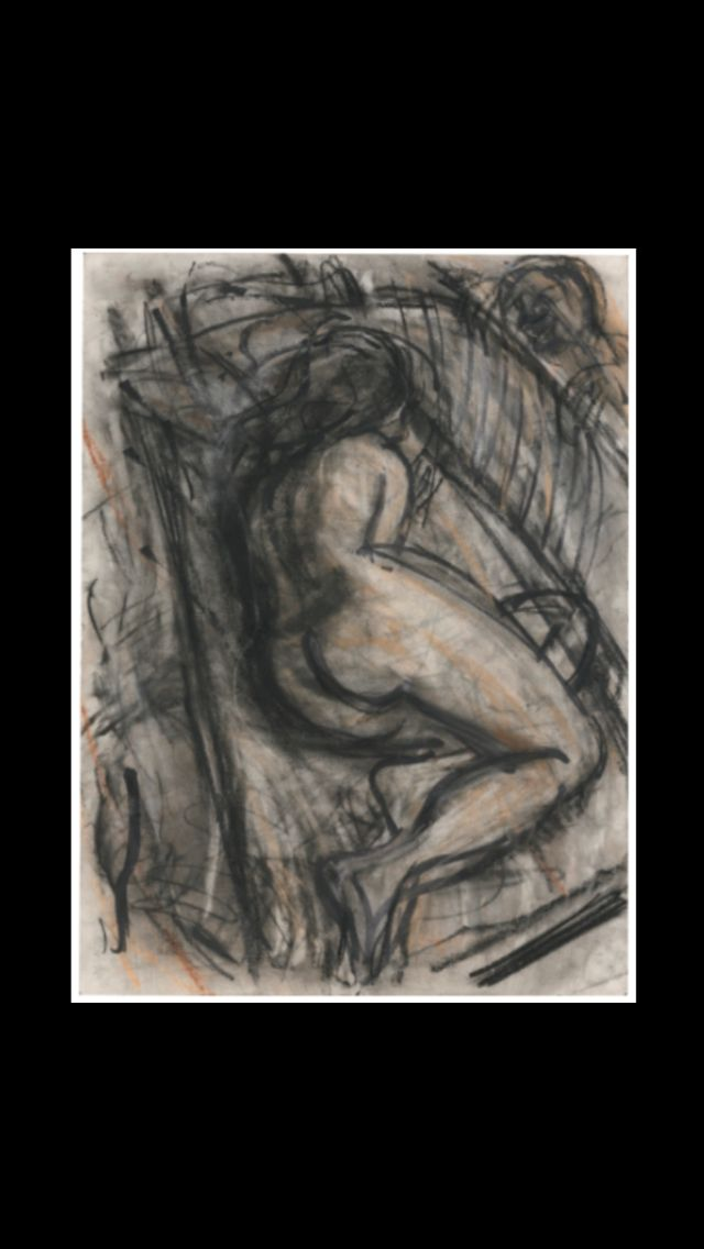 "Leon Kossoff - "" Pilar "", 1996 - Charcoal and pastel on paper - 75,6 x 55,9 cm"
