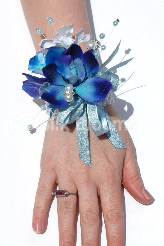 Stunning Galaxy Blue Orchid & Stephanotis Wedding Wrist Corsage