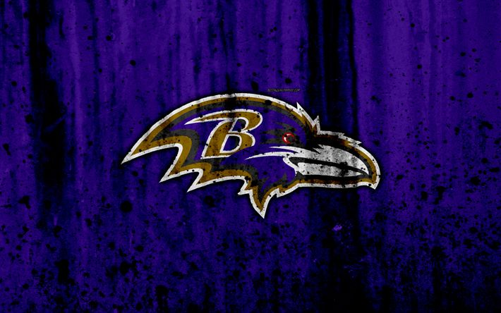 Download wallpapers Baltimore Ravens, 4k, NFL, grunge, stone texture, logo, emblem, Baltimore, Maryland, USA, American Football, North Division, American Football Conference, National Football League