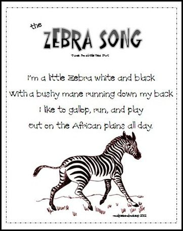 "Z-Zebra: Song- sing to tune of ""I'm a little tea cup"""