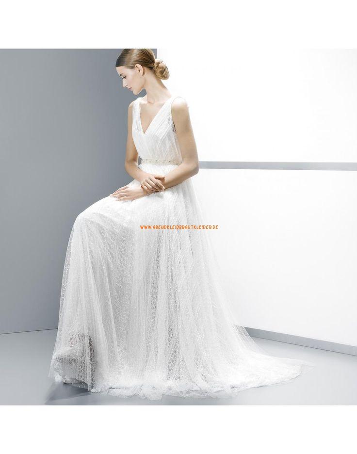Moderne V-Ausschnitt rückenfrei A-linie Hochzeitskleider aus Spitze - Jesús Peiró