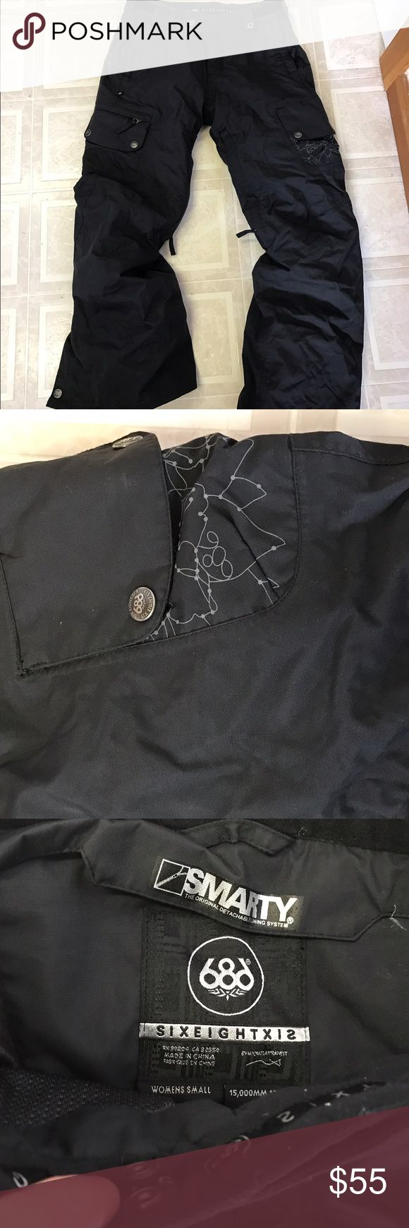 Black 686 Snowboarding Smarty Pants Super Warm EUC Black Snowboarding Pants, 686, EEUC. Also comes with original 2nd pair of fleece pants underneath. Used only once or twice before I was pregnant and now they don't fit anymore. Size small. Fantastic pants from a reliable brand. Constellation design on pocket 686 Pants