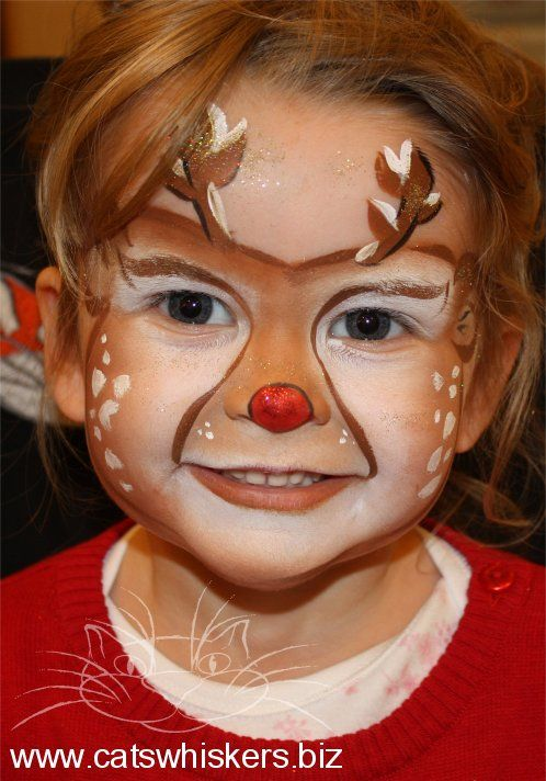 Christmas Reindeer Face Painting Design by Cats Whiskers Face Painting www.catswhiskers.biz