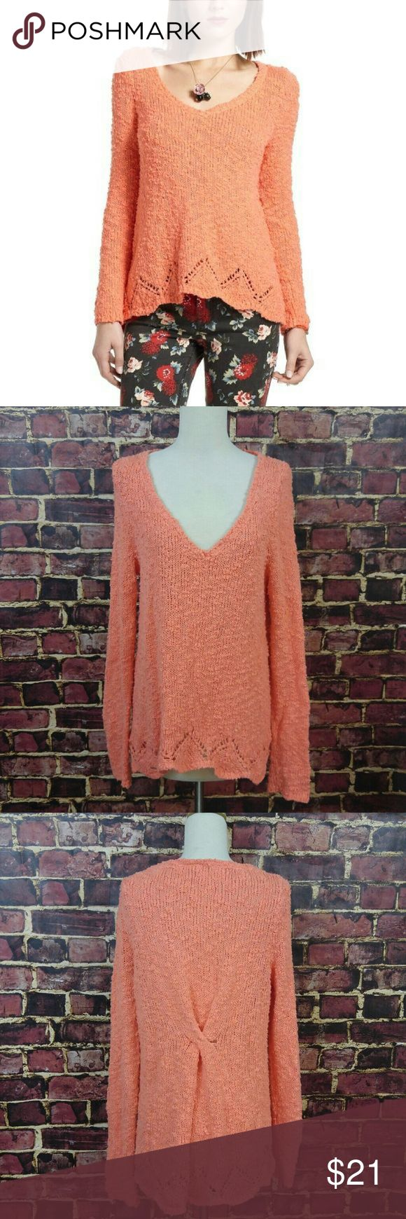 Anthropologie Little Bird Peaked Pointelle Anthropologie by Little Bird Peaked Pointelle Boucle Sweater in Orange. Gently Worn.   Please note small hole in back where the twist style is located see last picture. Price reduced due to this flaw.  Bust - 19  Length - 22 Anthropologie Sweaters