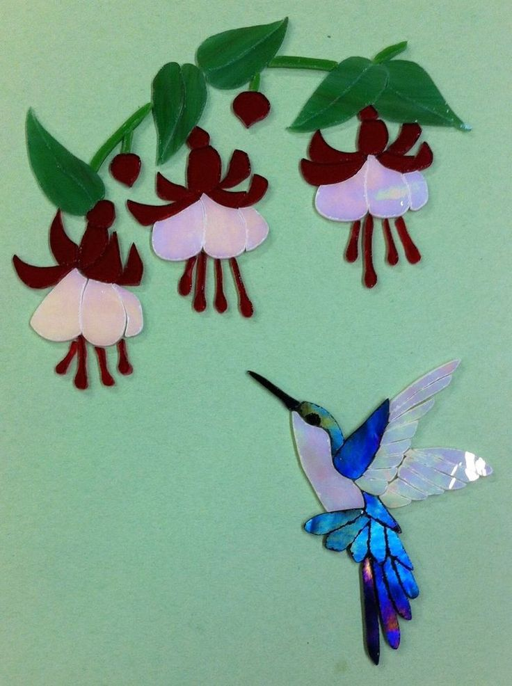 PRECUT STAINED GLASS ART HUMMINGBIRD & FUCHSIA FLOWER MOSAIC INLAY CRAFT KIT