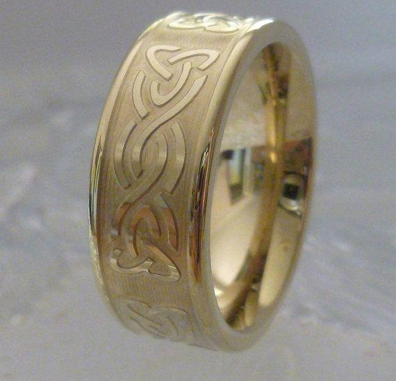 Celtic Wedding Ring Tungsten Band 18K Gold TR14