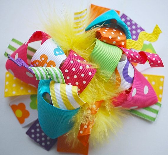 boutique FUNKY fun BRIGHT and BOLD hair bow clip by andjane, $12.99
