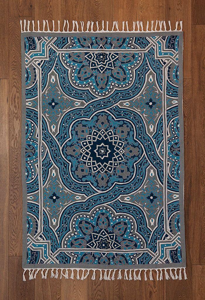 Mandala Rug,turquoise Area Rug,4x6 Area Rugs,royal Blue Rug,5x8