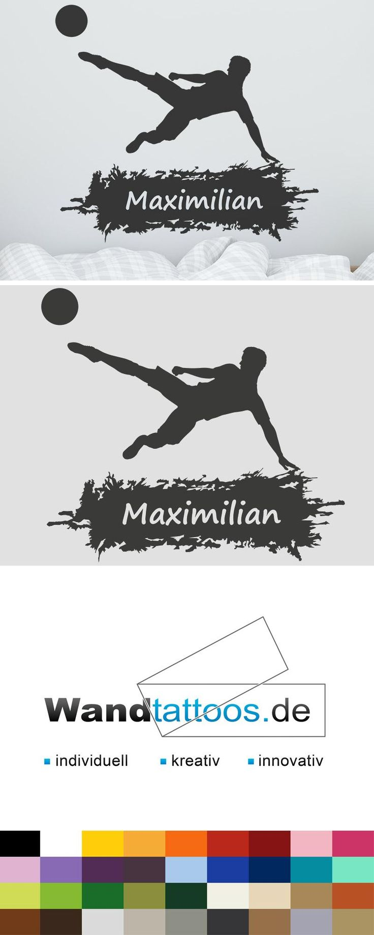Simple Wandtattoo Fu ball mit Name Fu ballspieler