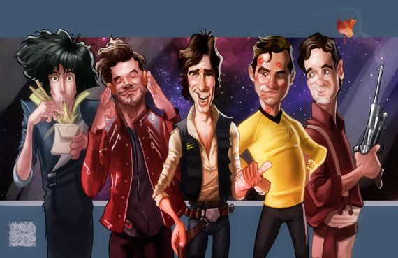 Space Cowboys   (Spike Spiegel, Peter Quill, Han Solo, Cpt. James T. Kirk and Malcolm Reynolds)