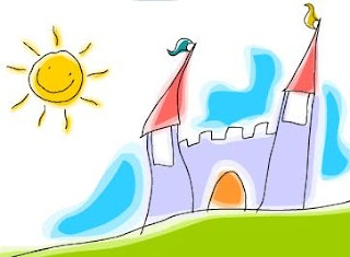 aquarela sol castelo