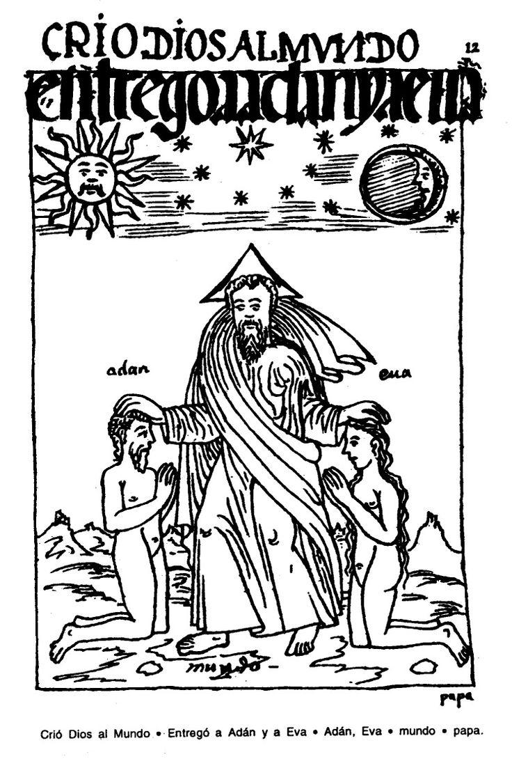 Crió Diosal Mundo. Entregó a Adán y a Eva. Adán, Eva. mundo. papa.