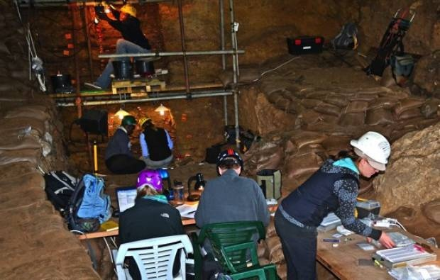 Members of the SACP4 Project during recent excavations in the Pinnacle Point Caves. The archaeology of the Caves will feature in a proposed interpretive centre to be built at The Point, Mossel Bay. Image courtesy Tersia Marais Photography.