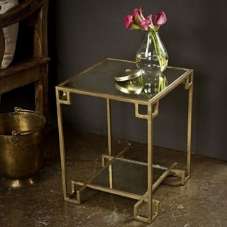 Overstock's Steel Cubist Brass Side Table $178.99