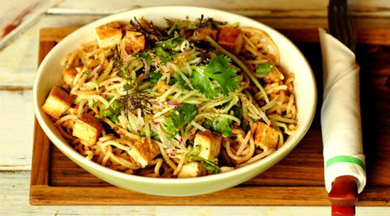 this looks really good Noodles with Peanut Sauce and Tofu (now you could replace tofu with chicken)