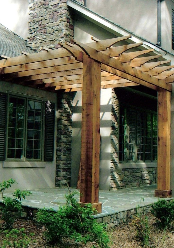 Add This Pergola To Side Of Shed With Stone Patio