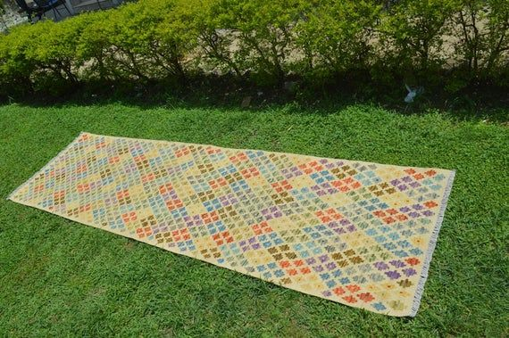 9.9 X 2.7 FT Geometric pattern Multi Colors Flat Weave Runner,Afghan Runner,DISCOUNTED Price