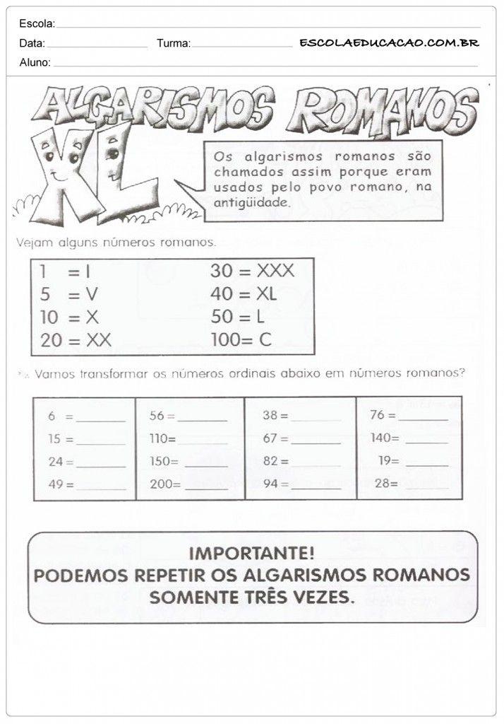 Pin De Rejane Olivego Em Numeros Romanos Algarismos Romanos