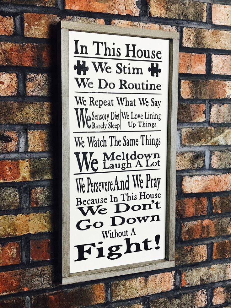 In This House Autism Sign/Autism Family Sign/Autism Awareness/Autism/In This House We Do/House Rules/Autism Quotes/Wood Sign/Awareness/Gift by SignsOfWisdom1 on Etsy https://www.etsy.com/listing/544043326/in-this-house-autism-signautism-family