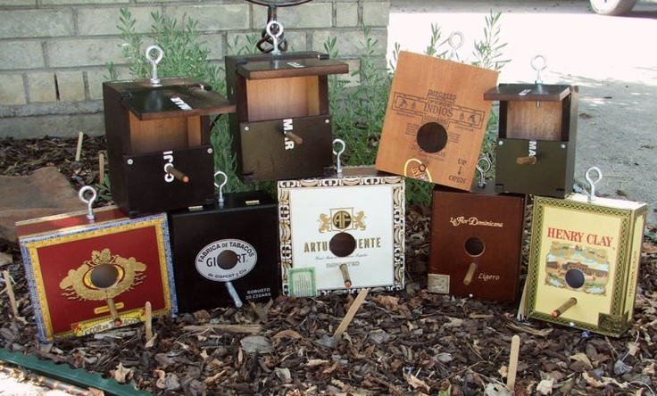 Cigar box birdhouses