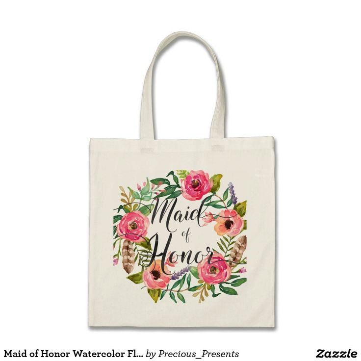 Maid of Honor Watercolor Floral Wreath2 Tote Bag