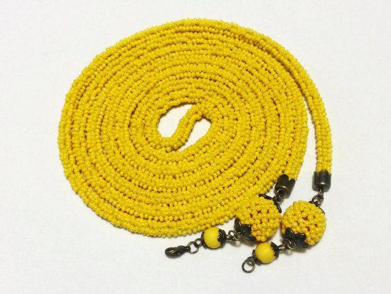 Yellow lariat. Long necklace. Crochet beaded rope. от Amikkaru