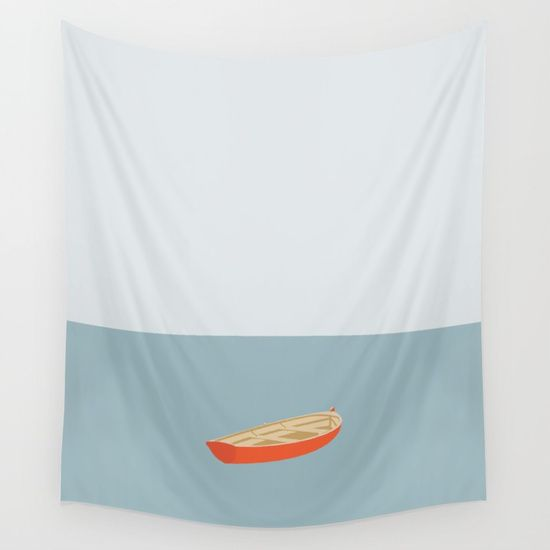 OCEAN SV�MMERE No.01 (Boat) Wall Tapestry. #painting #landscape #vector #graphic-design #acrylic #illustration #minimalism #minimal #boat #holiday #cool #modern
