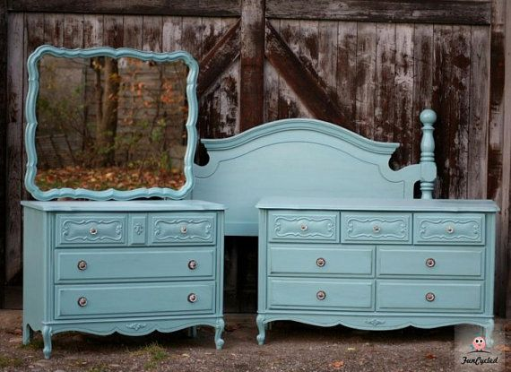 custom painted vintage french provincial bedroom set by 13476 | 12b76fafd07b33b4d84dc926371206ab