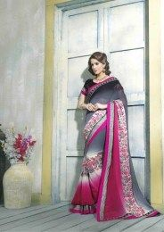 Grey Color Georgette Fabric Designer Saree With Raw Silk Fabric Blouse
