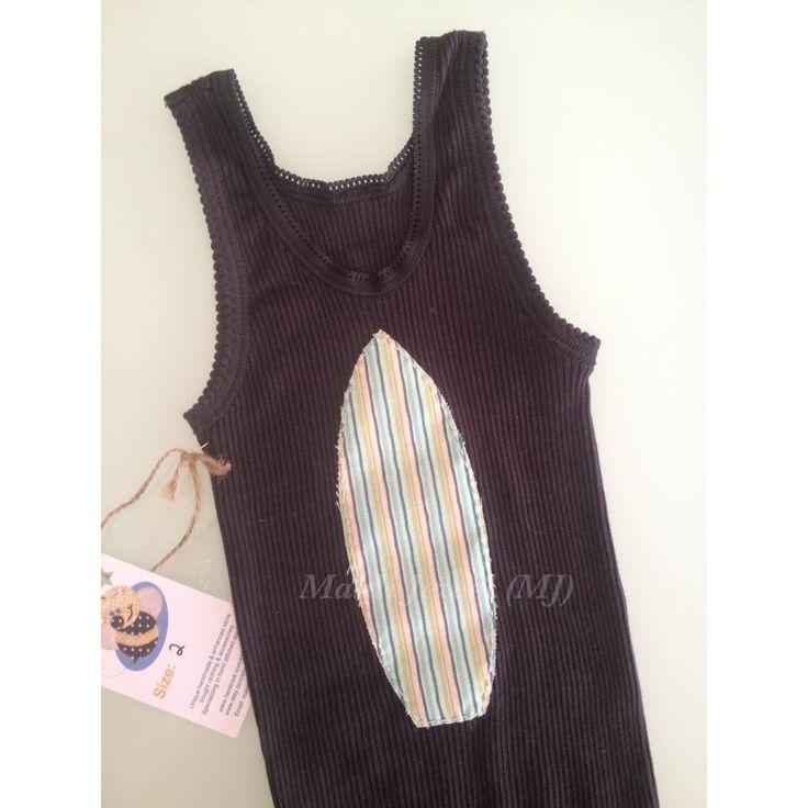 $15.00 BT3167 Sz 2 Boys dark grey top with retro striped surfboard by MahliJewelMJ on Handmade Australia