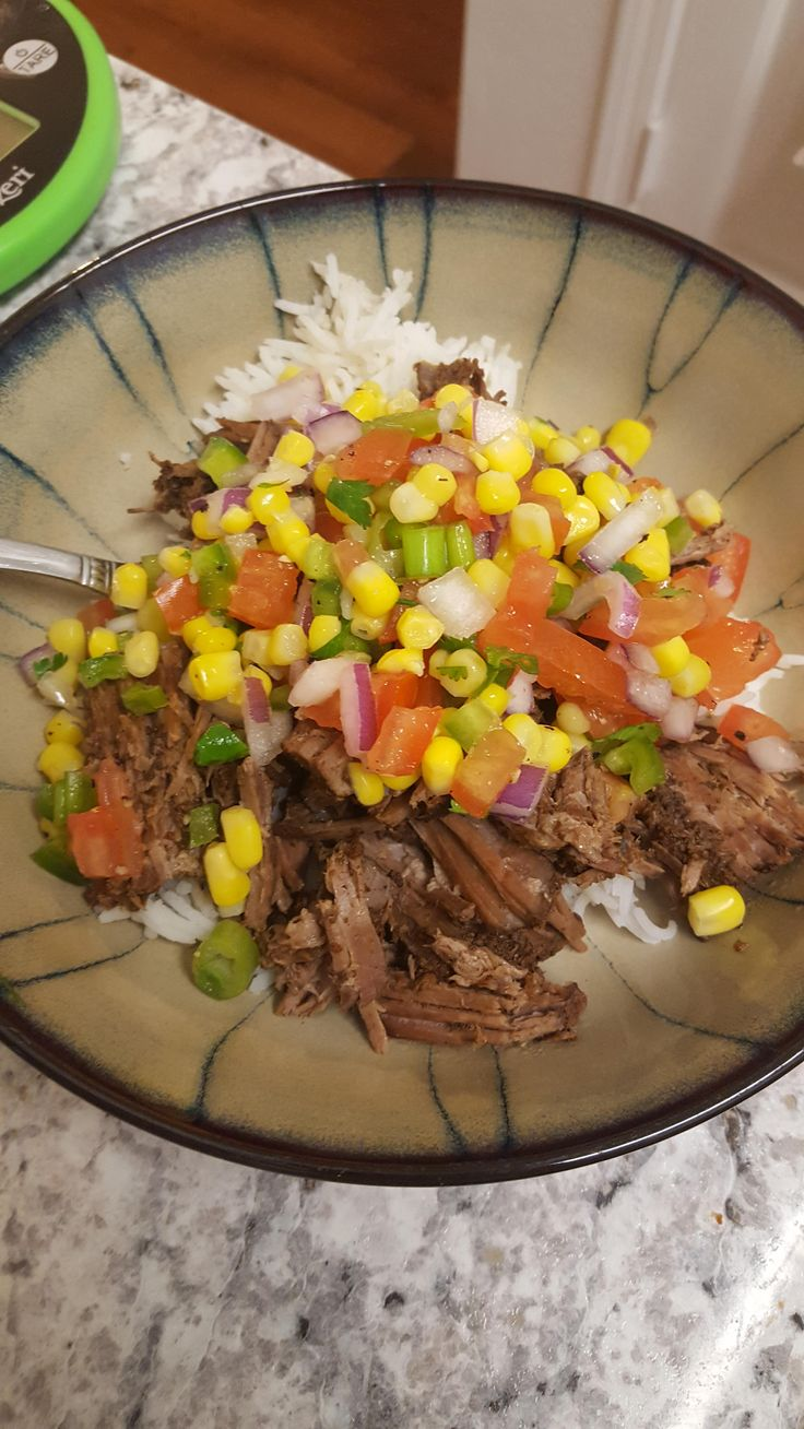 (Chipotle inspired) Crock Pot Barbacoa Beef with Lime Cilantro Salsa over Rice 329 cals #goodnutrition #physicalactivity #goodfood #vegetables #JuicePlus #healthymeal #healthyfood #healthy #health #exercise #eatclean