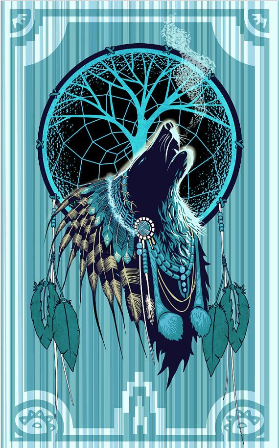American Native Wolf Shaman 11x17 Illustration Poster 11x17 Native American Wolf Native American Artwork Dream Catcher Art