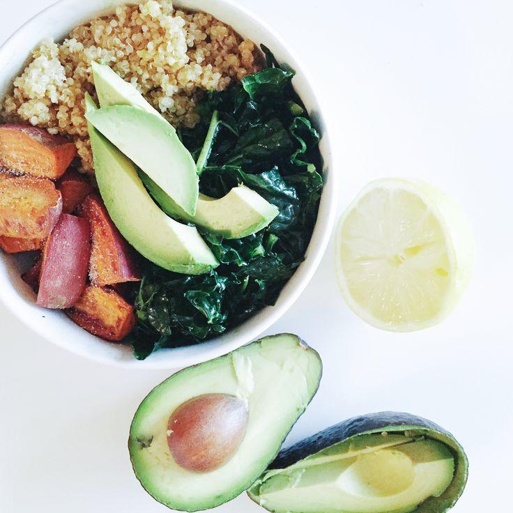 Yogi Bowl: Massaged kale, roasted sweet potato, quinoa, avocado
