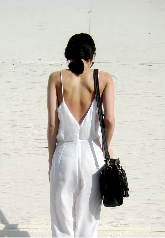 jacquiealexander white spaghetti strap backless loose jumpsuit c/o sheinside