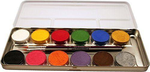 Eulenspiegel 212004 - Schminkpalette aus Metall, 2 Pinsel und 12 Farben