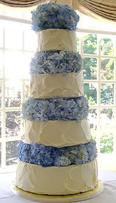 The most perfect wedding cake I've ever seen. No busy fondant decals and trimmings, just gorgeously frosted layers and hydrangeas. LOVE. IT.