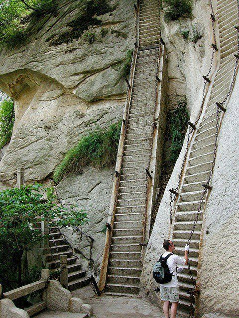 The most dangerous hike in the world, Mt. Huashan, China. I would never do this, it just looks interesting.