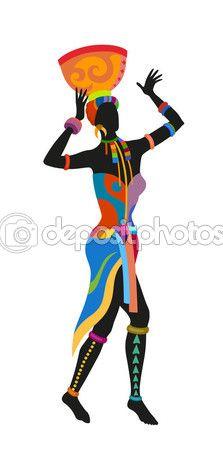 Mujer africana de danza étnica — Vector de stock #107754912 Más
