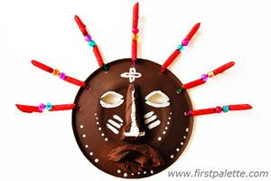 African Paper Plate Mask Craft  Materials:  Paper plate  Hole punch  Craft knife  Pipe cleaner  Colored pasta  Beads  Newspapers  White glue  Poster paint  Paint brush