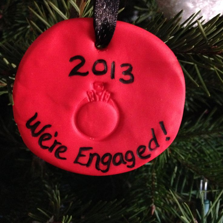 DIY Engagement Ornament           Engagement ring     Modeling clay (about 1 oz) – I used Fimo Modeling Clay 2oz Block-8020-24 Indian Red.  Although any oven baked modeling clay should work.     Sharpie     Toothpick     Ribbon/string
