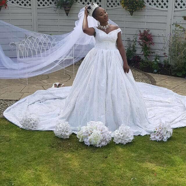 Handmade bespoke white wedding dress with 3 metres train, beautiful fitted bodice , all encrusted with pearls #lesleycutler #lesleycutlerbridal #mybestme #weddingdress #weddinggown #weddinginspo #bride #bridetobe #weddings #weddingideas #bespokeweddingdress #dressmaker #dressmakers #miltonkeynes #buckinghamshire #bedfordshire #oxfordshire #northants