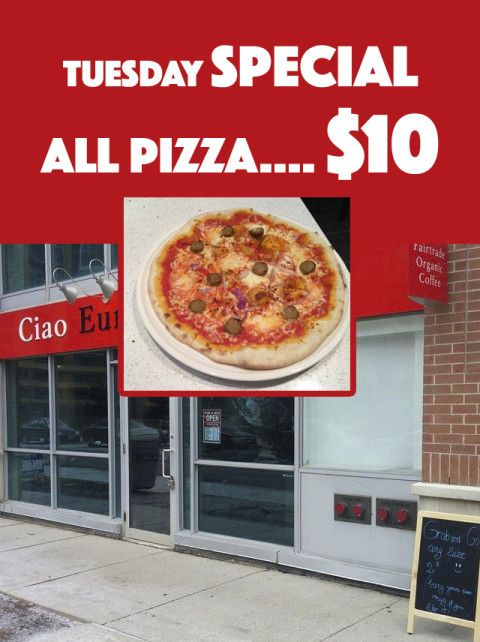 Ciao Europa Cafe — Tuesday Special: All Pizza $10 #deal #savings #deals #BurlON #northyork #mississauga #toronto #coupon #restaurant #ontario #oakville #food #drink #app #seecows