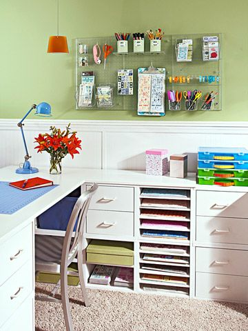 This office is organized to perfection – I especially love that they used an old clipboard to hang loose papers. Try this: hang a grouping of clipboards in your own office in even rows to create a clipboard gallery! You can hang magazine clippings, drawings, even photos on them and swap 'em out when you're ready for something new!