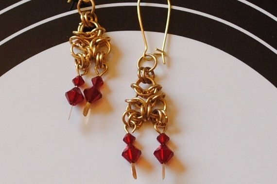 Siam chain maille earrings